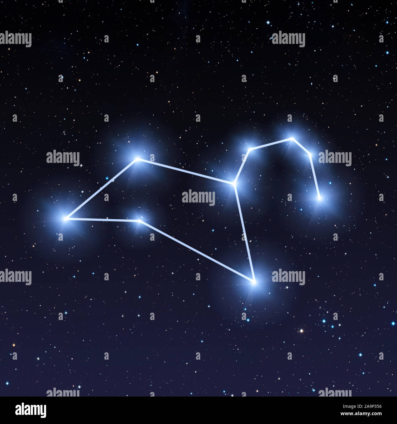 leo constellation in night sky with bright blue stars 2A9P356
