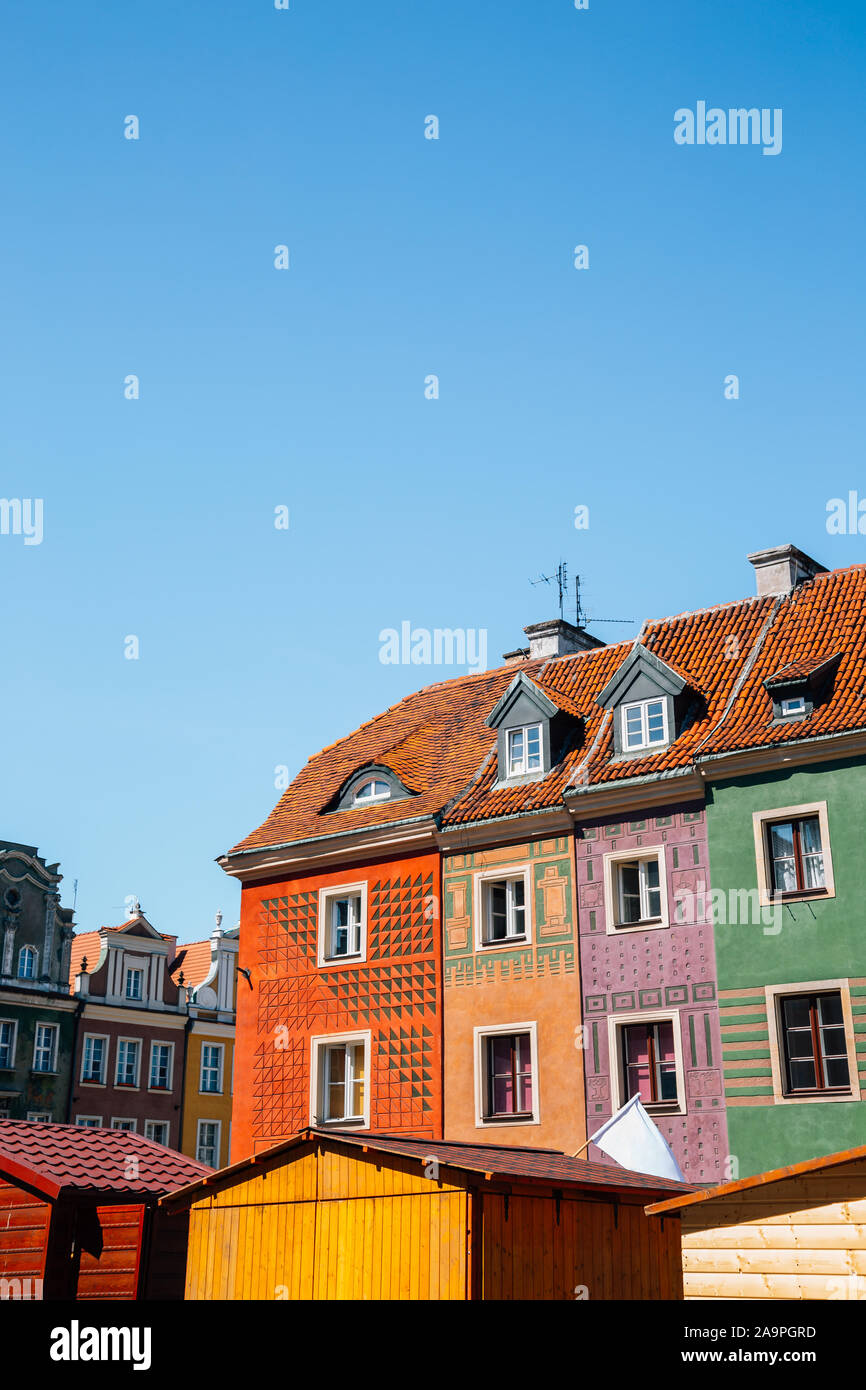 Stary Rynek old town market square, colorful buildings in Poznan, Poland Stock Photo