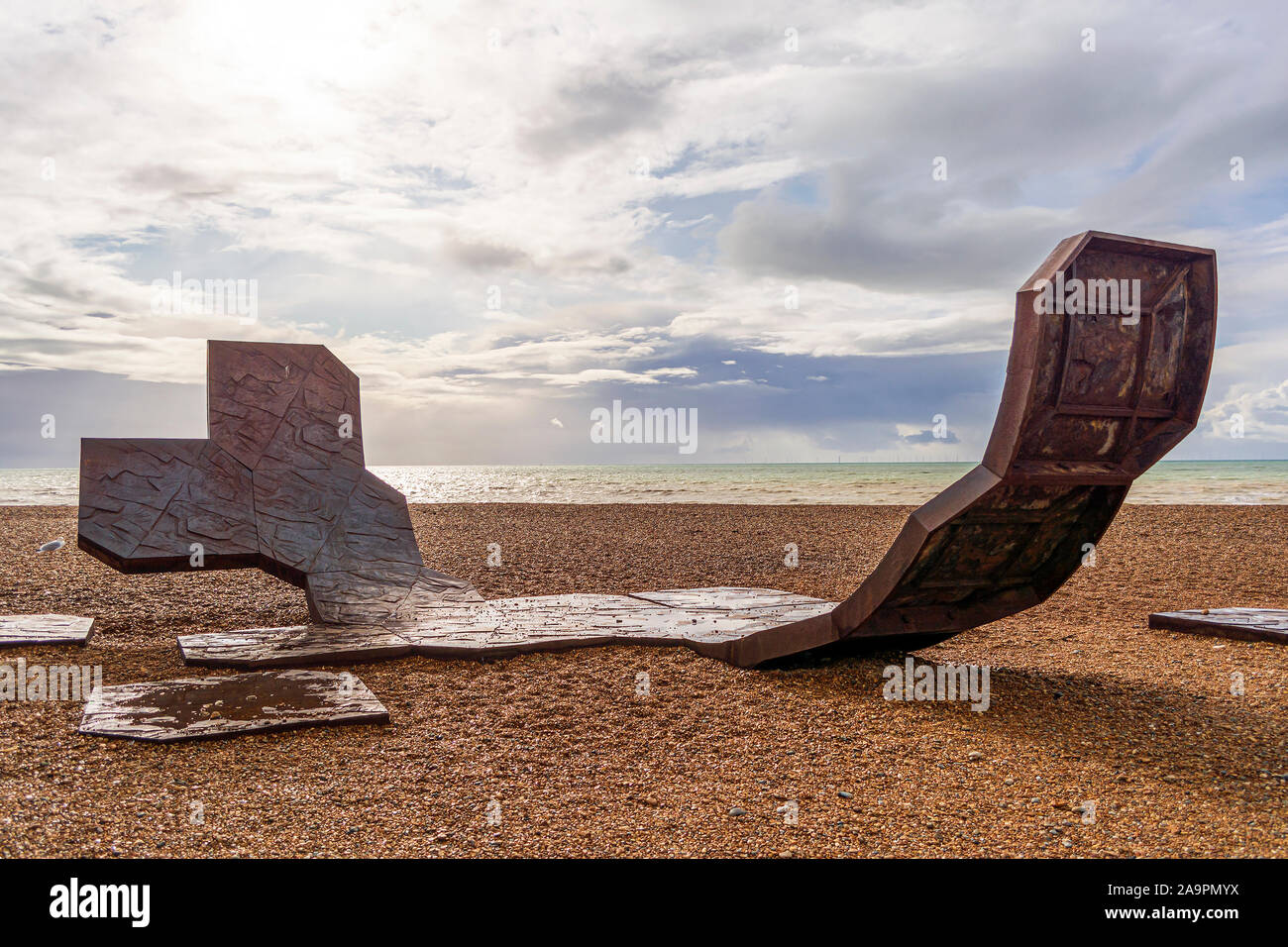 Brighton and Hove, East Sussex, UK - November 4, 2019: Passacaglia sculpture by Charles Hadcock on the beach in Brighton, UK. Passacaglia is a huge, c Stock Photo