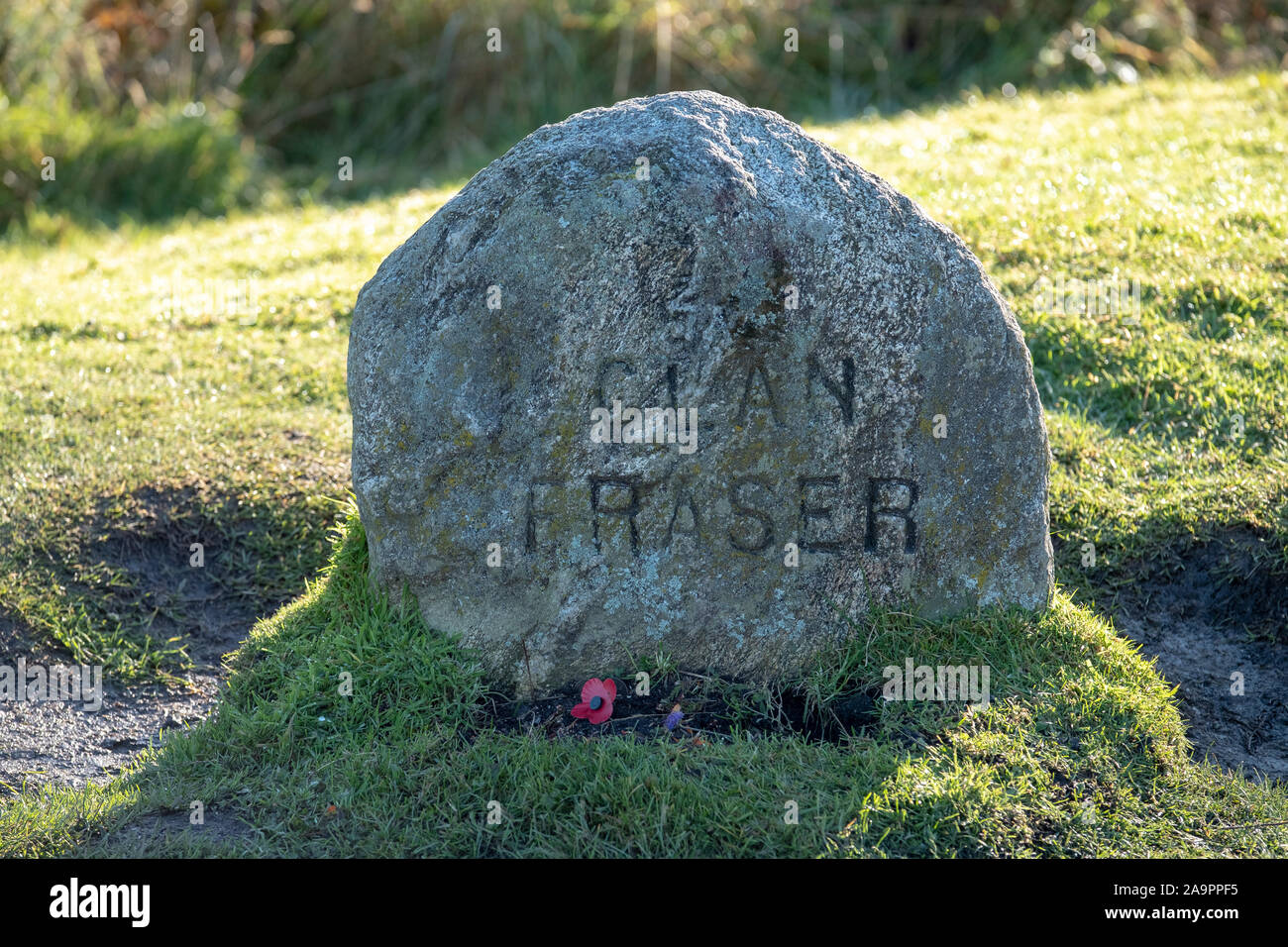 The Clan Fraser memorial stone, Culloden battlefield, Inverness. Stock Photo