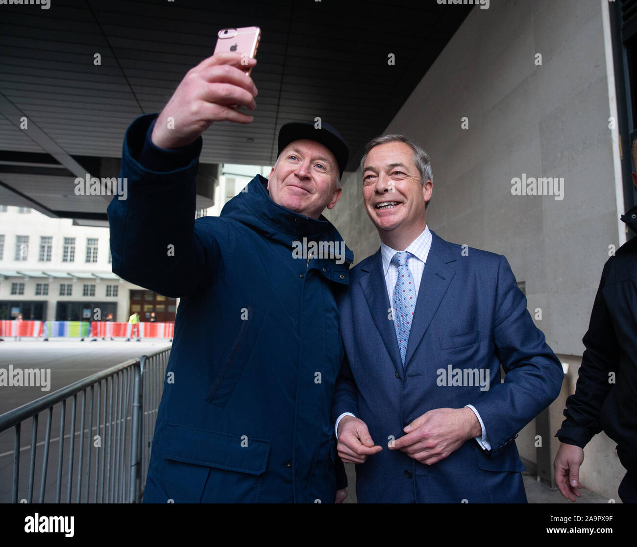 London, UK. 17th Nov, 2019. Brexit Party Leader, Nigel Farage, at the BBC Studios. Credit: Tommy London/Alamy Live News Stock Photo