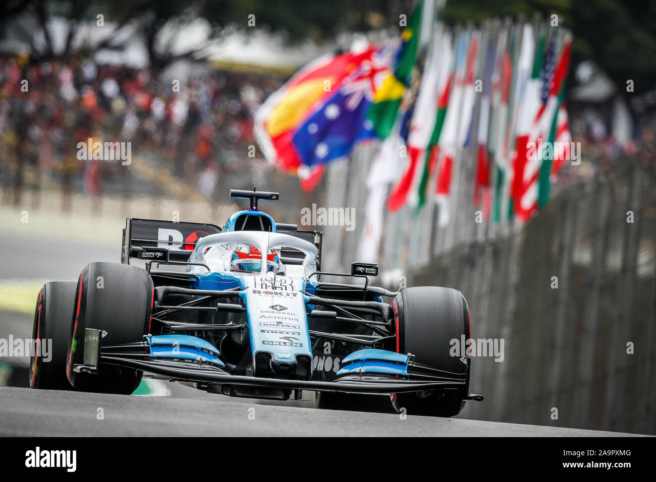 Sao Paulo, Brazil. 16th Nov, 2019. 63 RUSSELL George (gbr), Williams Racing F1 FW42, action during the 2019 Formula One World Championship, Brazil Grand Prix from November 15 to 17 in Sao Paulo, Brazil - | usage worldwide Credit: dpa/Alamy Live News - Stock Photo