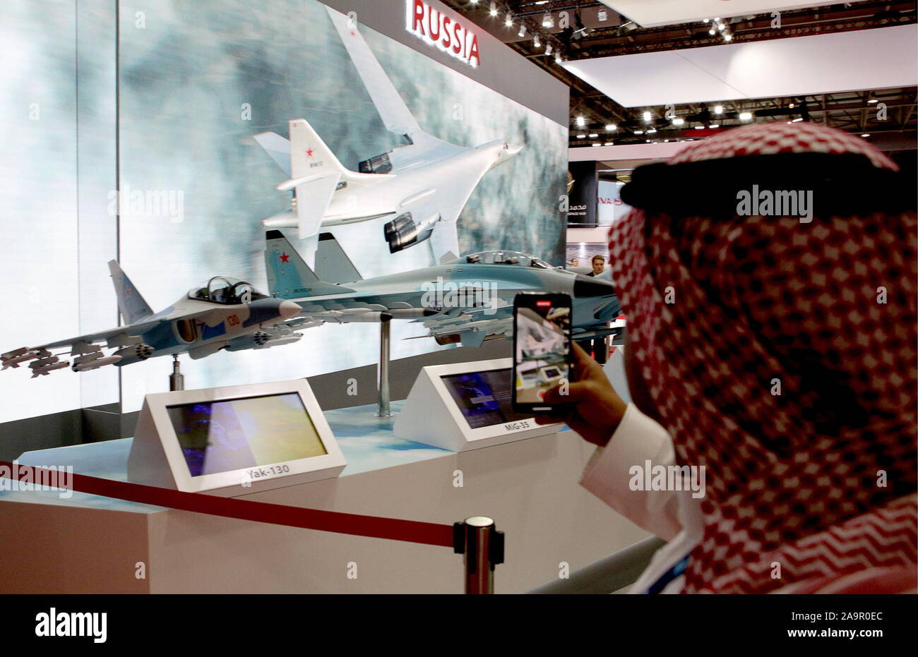 Dubai, United Arab Emirates. 17th Nov, 2019. DUBAI, UNITED ARAB EMIRATES - NOVEMBER 17, 2019: The United Aircraft Corporation stand at the 2019 Dubai Airshow. Marina Lystseva/TASS Credit: ITAR-TASS News Agency/Alamy Live News Stock Photo
