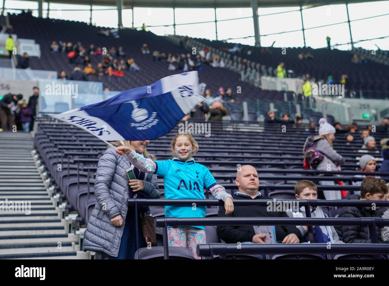 London, UK. 17th Nov, 2019. Tottenham Hotsupr fan during the Barclay's FA Women's Super League football match between Tottenham vs Arsenal at Tottenham Hotspur Stadium on November 17, 2019 in London, England (Photo by Daniela Porcelli/SPP) Credit: SPP Sport Press Photo. /Alamy Live News Stock Photo