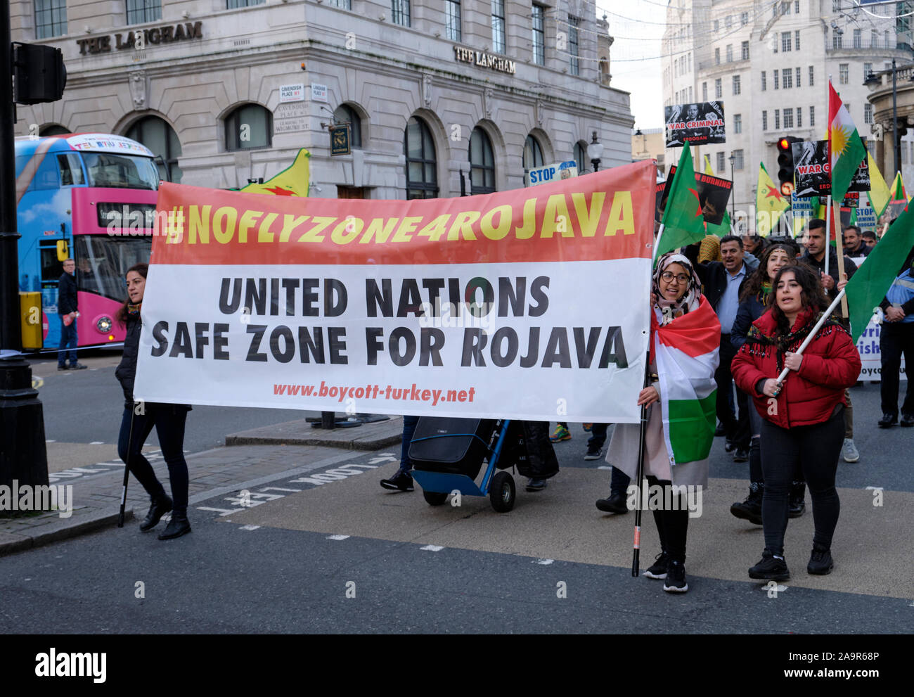 London, UK. 17th Nov, 2019. UK based Kurds leading a rally in street of London to denounce the invasion of Rojava by the Turkish state, and demand international nations to take action and for the British public to be in solidarity with the Kurdish struggle. Credit: jf pelletier/Alamy Live News Stock Photo