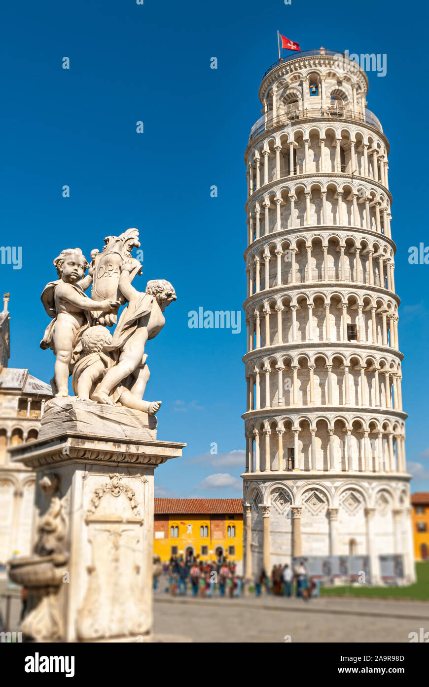 Shot of the leaning tower of Pisa, in the Italian region of Tuscany, taken on a sunny day Stock Photo