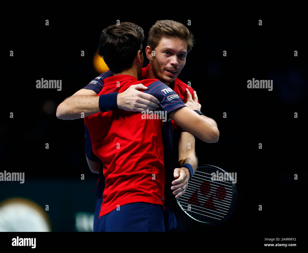 London, UK. 17th Nov 2019.  Pierre-Hughes Herbert and Nicolas Mahut celebrates they win during in action during Doubles Championship Final match Pierre-Hughes Herbert and Nicolas Mahut (FRA) against Raven Klaasen( RSA) and Michael Venus (NZL) International Tennis - Nitto ATP World Tour Finals Day 8 - Tuesday 17th November 2019 - O2 Arena - London Credit: Action Foto Sport/Alamy Live News Stock Photo