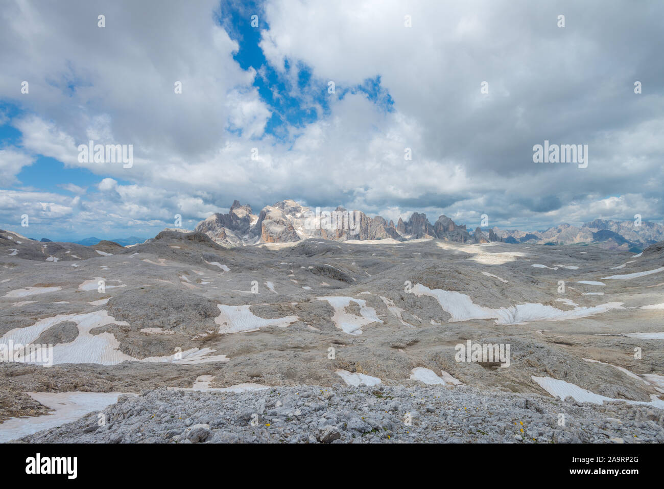 Open views of the Rosetta plateau in the Dolomites. Rocky, deserted moonscape in the mountains. Barren mountainscape, alpine scenary. Stock Photo