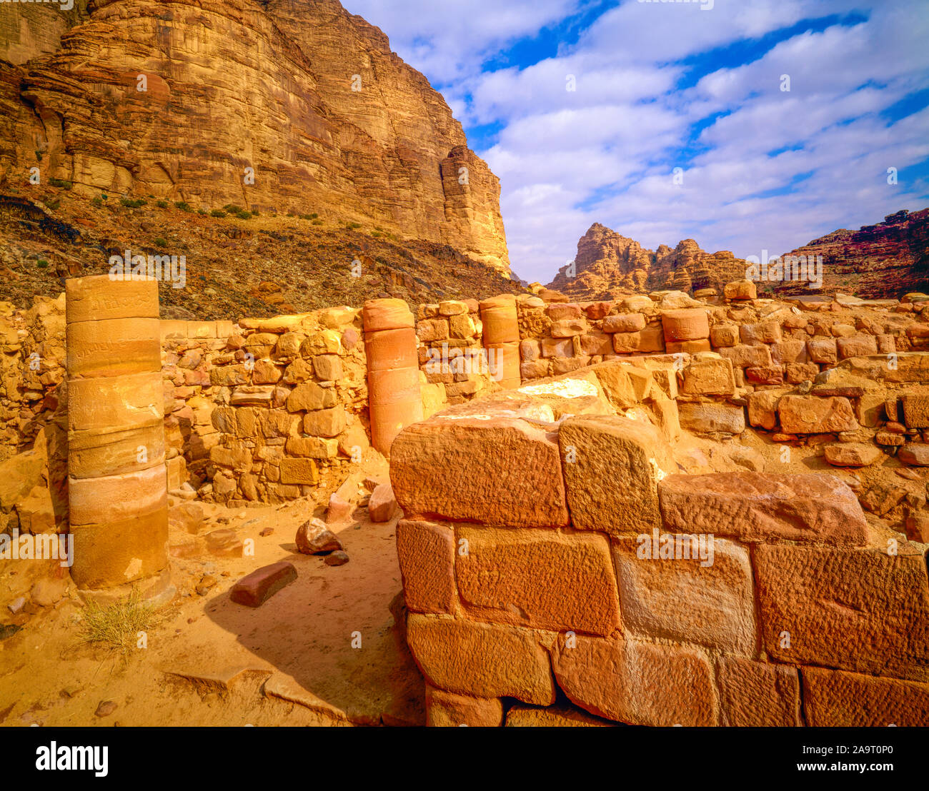 Nabataen Temple ruins, Wadi Rum, Jordan, Two thousand-year old ruins Jebel Rum Stock Photo