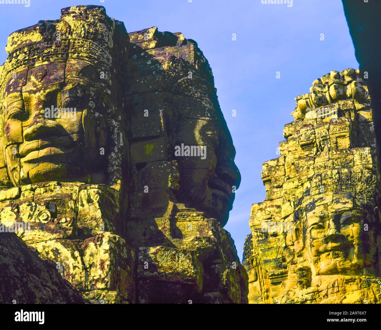 Huge carvings at Bayon Temple, Angkor Watt Archeological Park, Cambodia, City of Angkor Thom, Built 1100-1200 AD Khymer Culture ruins, SE Asia jungle Stock Photo
