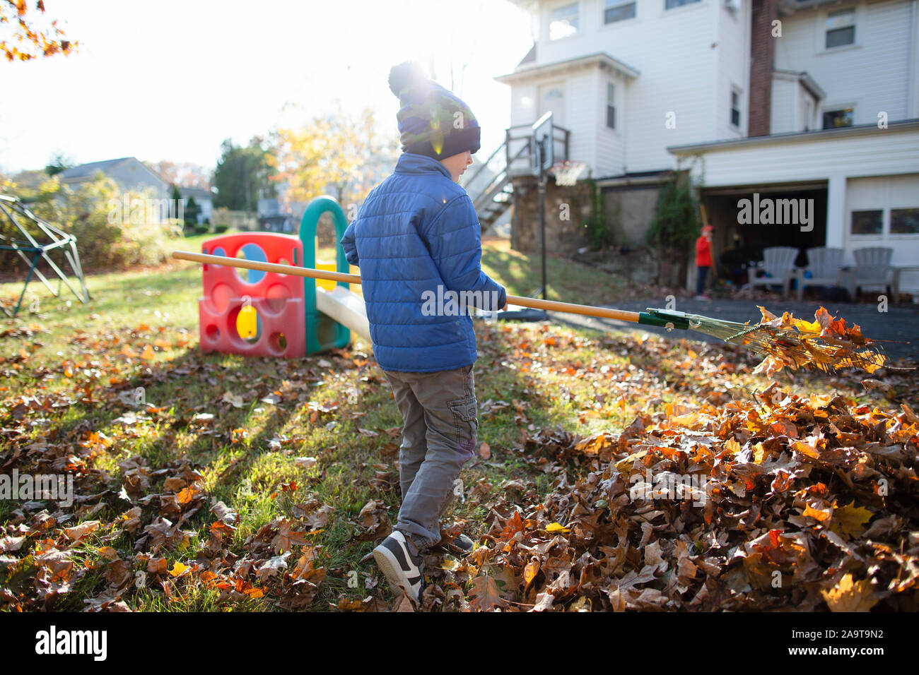 Rear view of a young boy raking leaves during Autumn in the backyard Stock Photo