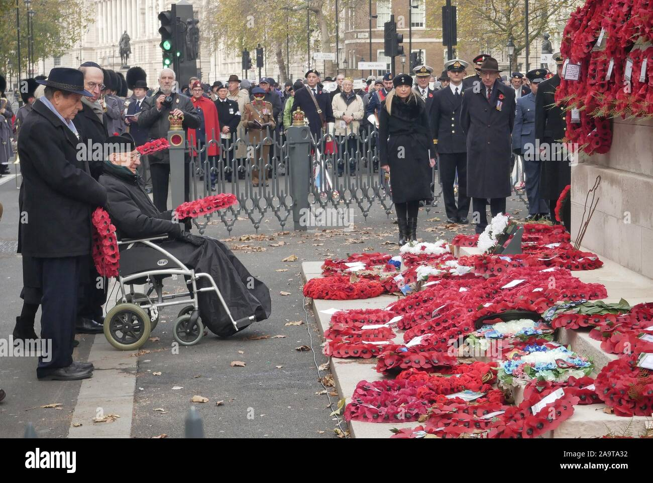 London, UK. 17th Nov, 2019. Sir Malcolm Rifkind, The Chief Rabbi Ephraim Mirvis and The Right Worshipful Lord Mayor of Westminster - Councillor Ruth Bush, attend the annual AJEX (The Association of Jewish Ex-Servicemen and Women) Remembrance Ceremony & Parade in Whitehall, London. Credit: Brian Minkoff/Alamy Live News Stock Photo