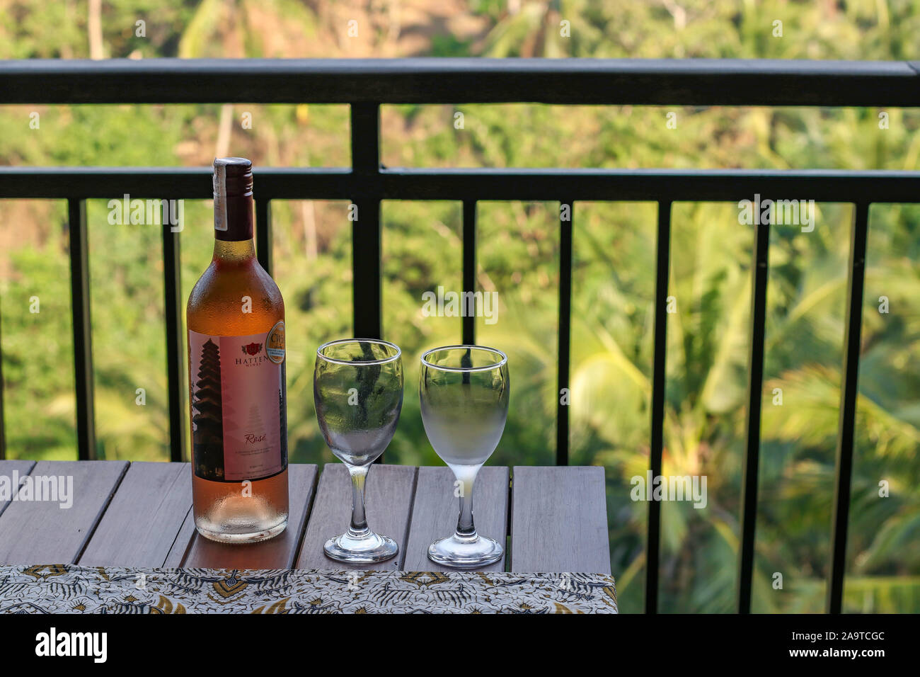 10 14 2019 Ubud Bali Indonesia A Bottle Of Rose Wine And