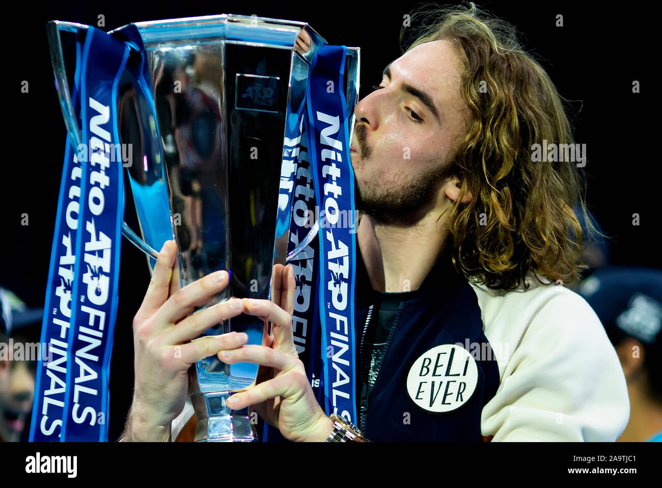 Arena. London, UK. 17th Nov, 2019. Nitto ATP Tennis Finals; Stefanos Tsitsipas (Greece) kisses the ATP trophy - Editorial Use Credit: Action Plus Sports/Alamy Live News Stock Photo