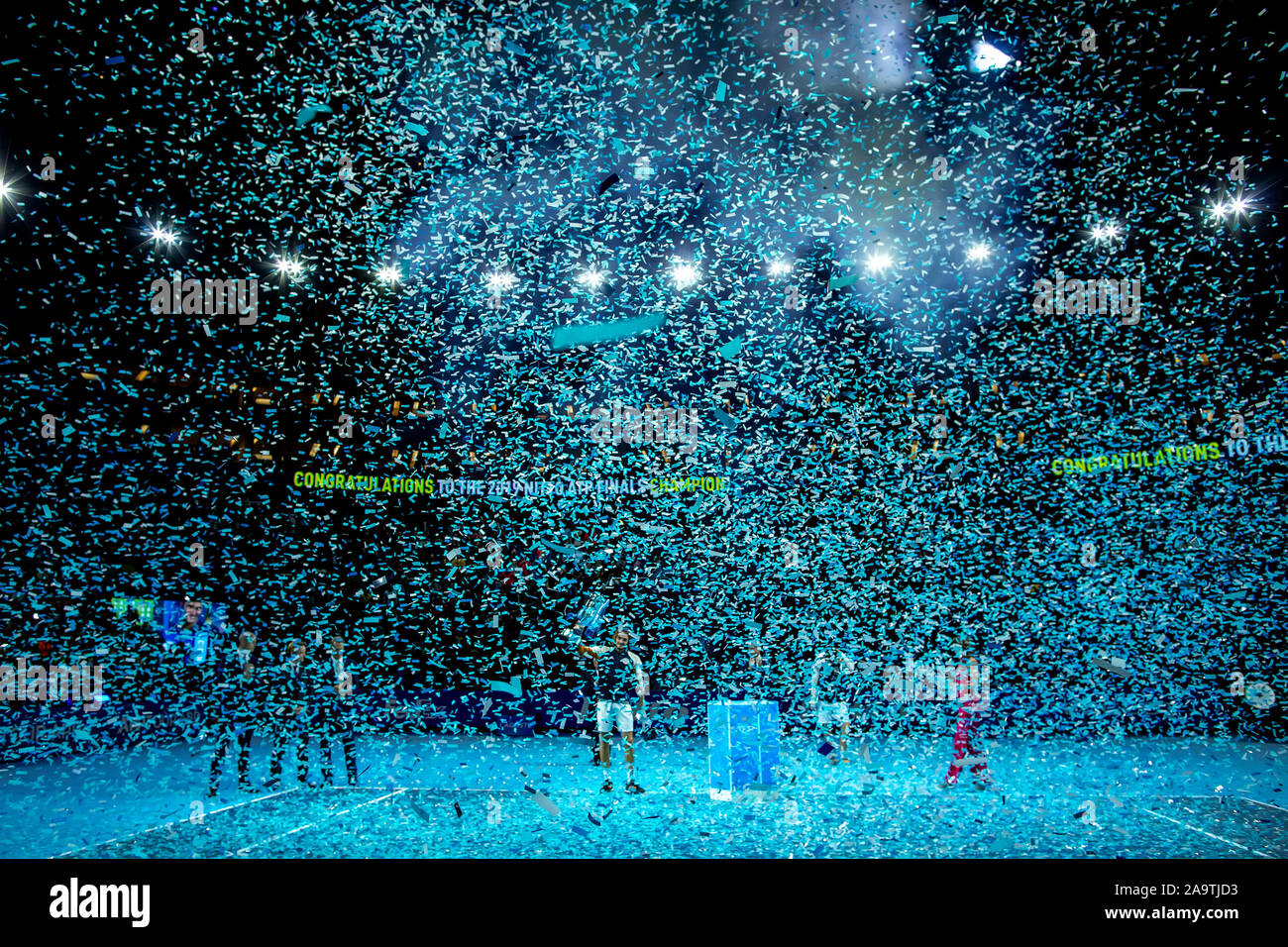 Arena. London, UK. 17th Nov, 2019. Nitto ATP Tennis Finals; Stefanos Tsitsipas (Greece) holds the ATP trophy - Editorial Use Credit: Action Plus Sports/Alamy Live News Stock Photo