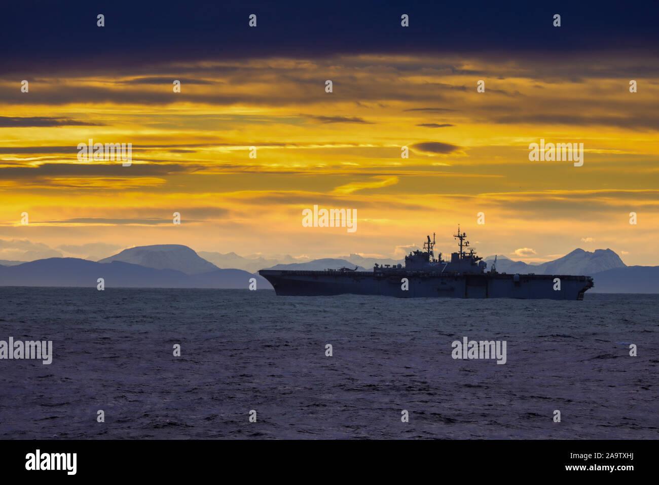 USS Iwo Jima a Wasp class amphibious assault ship of the United States Navy off the coast of Norway Stock Photo