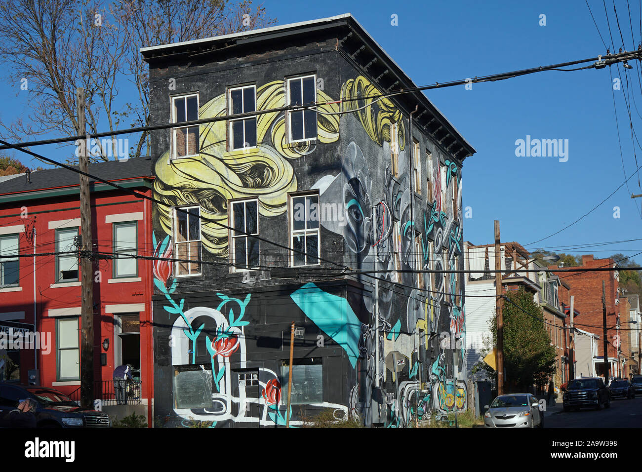 PITTSBURGH - NOVEMBER 2019: The Randyland area of the city is a a flamboyant outdoor extravaganza of random  pop art painted on house walls. Stock Photo