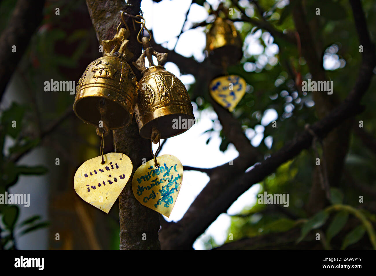 Bells in a buddhist Temple in Chiang Mai, northern Thailand. Stock Photo