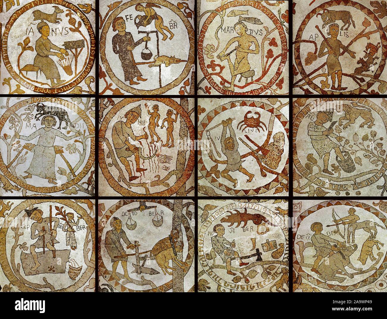 Italy Apulia Otranto Cathedral - zodiac floor Stock Photo