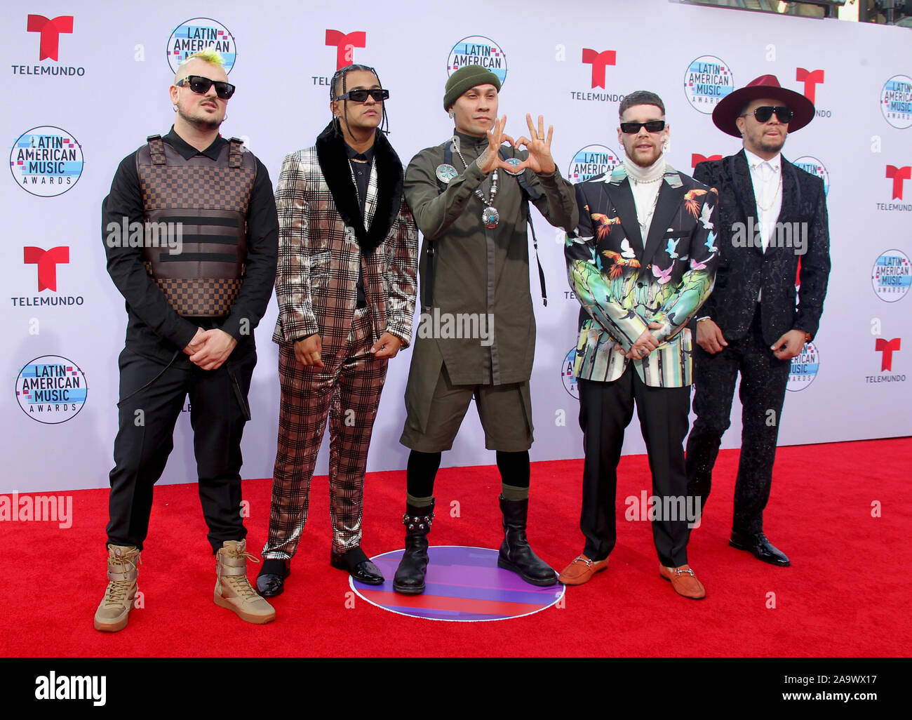 Latin American Music Awards 2019 held at the Dolby Theatre in Hollywood, California. Featuring: Taboo, Piso 21 Where: Los Angeles, California, United States When: 17 Oct 2019 Credit: Adriana M. Barraza/WENN.com Stock Photo