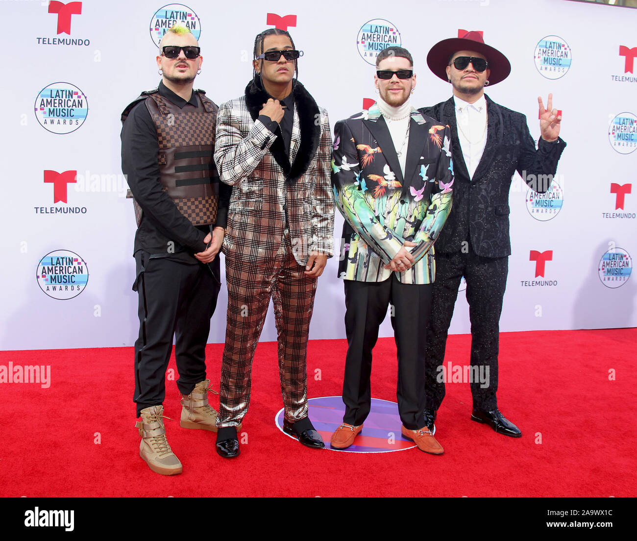 Latin American Music Awards 2019 held at the Dolby Theatre in Hollywood, California. Featuring: Piso 21 Where: Los Angeles, California, United States When: 17 Oct 2019 Credit: Adriana M. Barraza/WENN.com Stock Photo