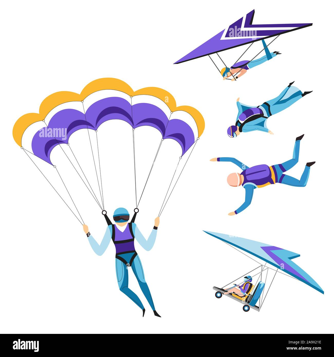 Parachutist and paraglider, skydiving isolated characters, sky jumping Stock Vector