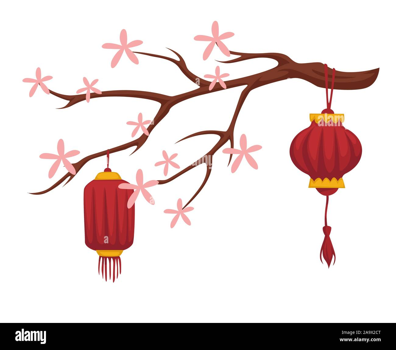 Blooming sakura and Chinese paper lanterns isolated icon Stock Vector