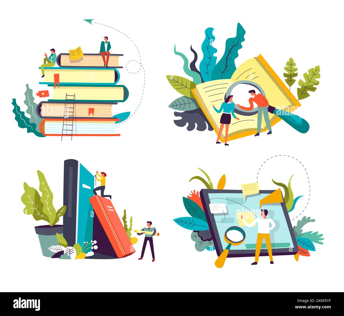Online library service, book piles and tablet or pad, isolated icons Stock Vector