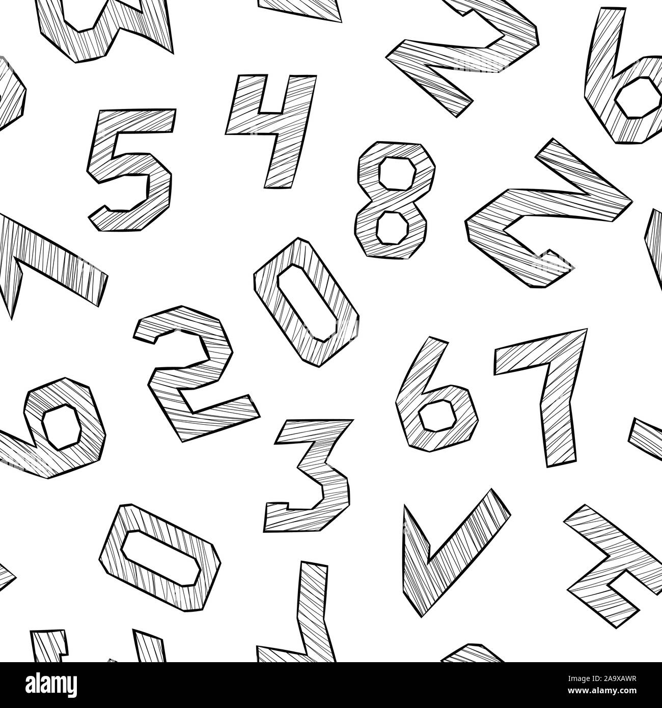 Numbers. Black and white hand drawn signs in hatching style. Seamless pattern Stock Vector
