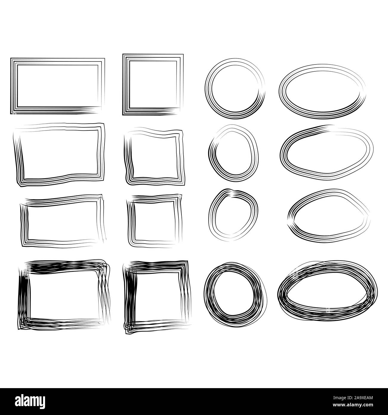 Frames in doodle style. Set of Square, rectangle, circle, oval handdrawn borders. Stock Vector