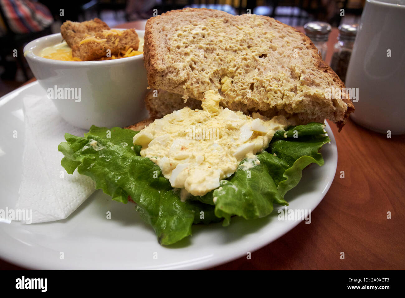 egg salad sandwich and soup in a cafe in the usa Stock Photo