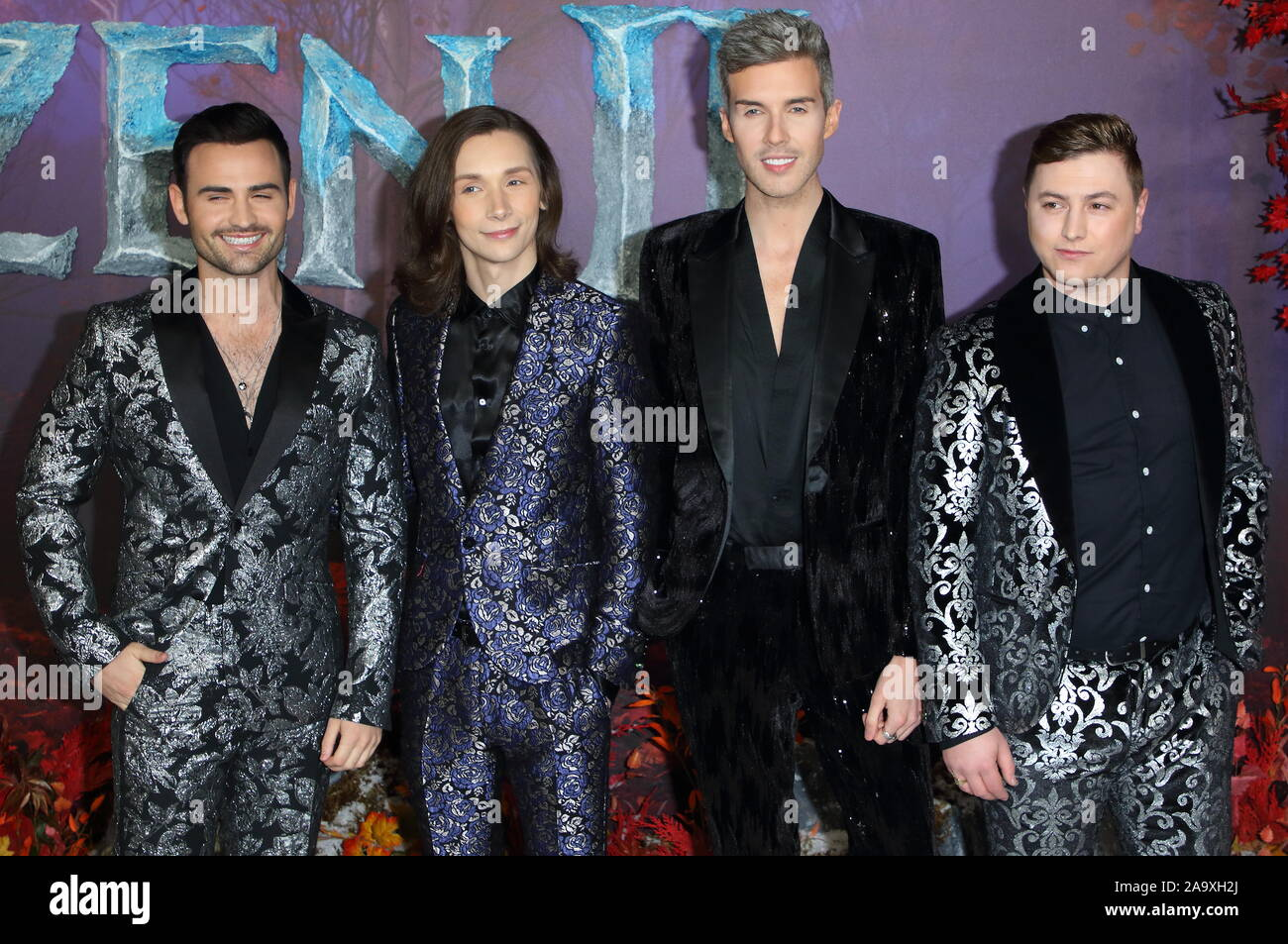 """London, UK. 17th Nov, 2019. Collabro attend the """"Frozen 2"""" European premiere at BFI Southbank in London. Credit: SOPA Images Limited/Alamy Live News Stock Photo"""