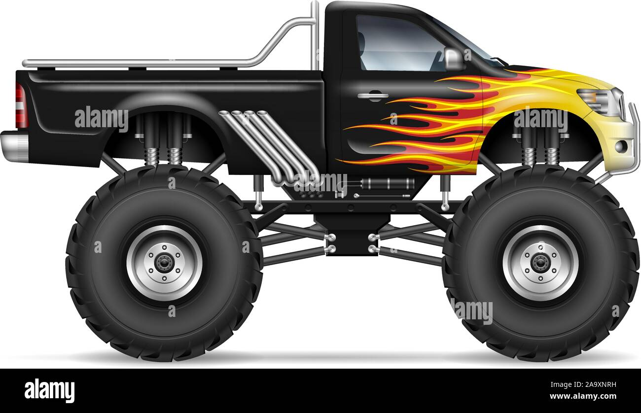 Black Monster Truck With Fire Stripes Side View All Elements In The Groups On Separate Layers Stock Vector Image Art Alamy