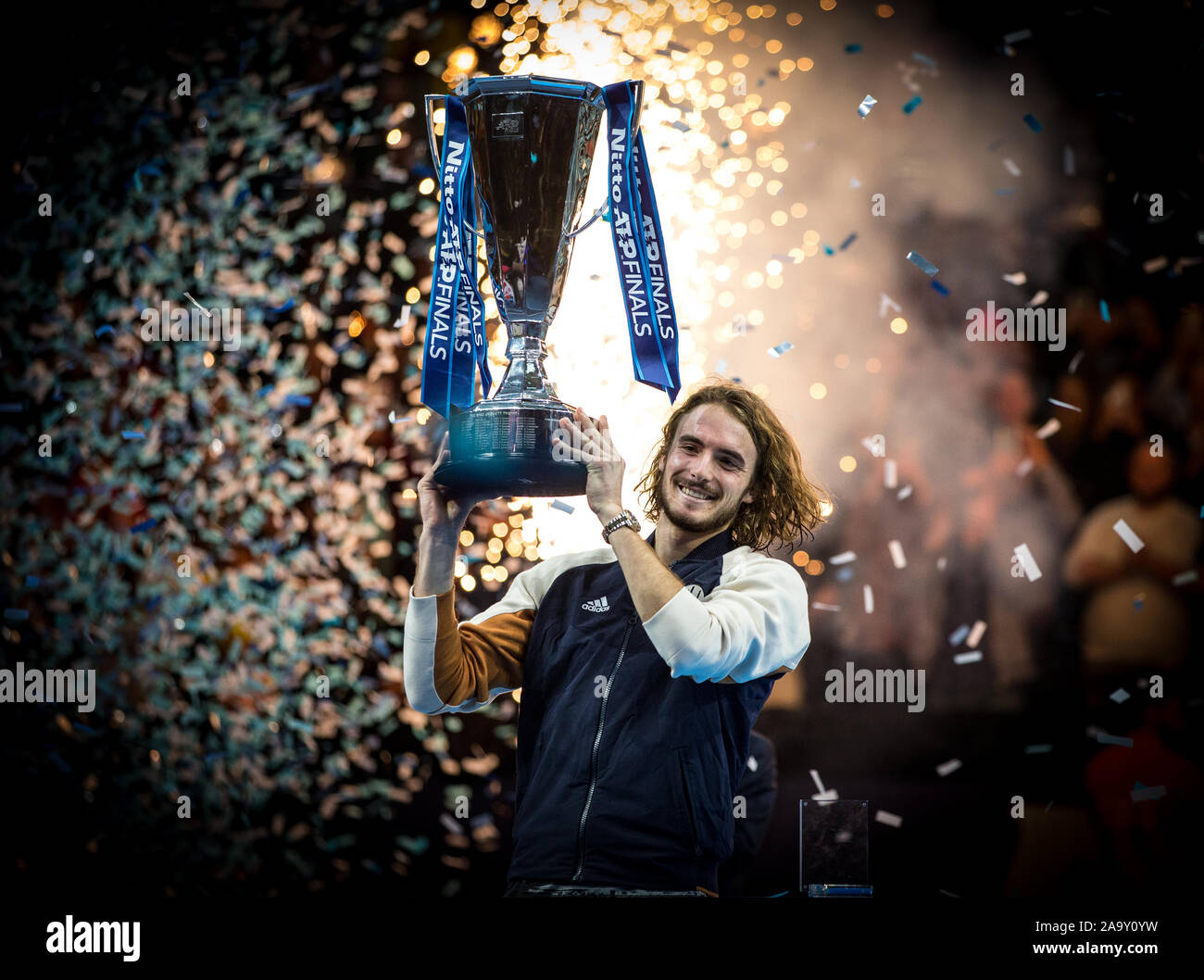 London, UK. 17th Nov, 2019. Stefanos TSITSIPAS (Greece) celebrates winning the FINAL during the Nitto ATP World Tour Finals London Day 8 (FINALS) at the O2, London, England on 17 November 2019. Photo by Andy Rowland. Credit: PRiME Media Images/Alamy Live News Stock Photo