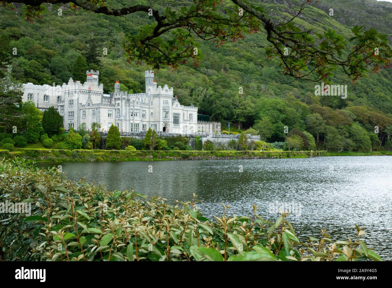 Kylemore Abbey, and lake. Connemara region, Ireland Stock Photo