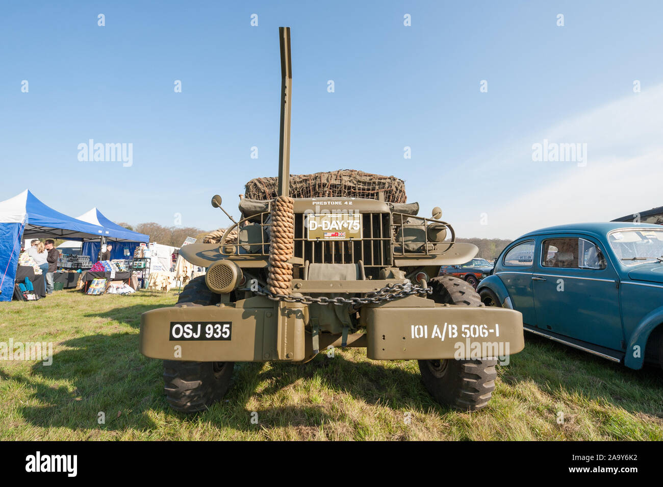 Vintage WW2 D-Day military truck at a meeting of classic vehicle in Rushmoor, UK - April 19, 2019 Stock Photo