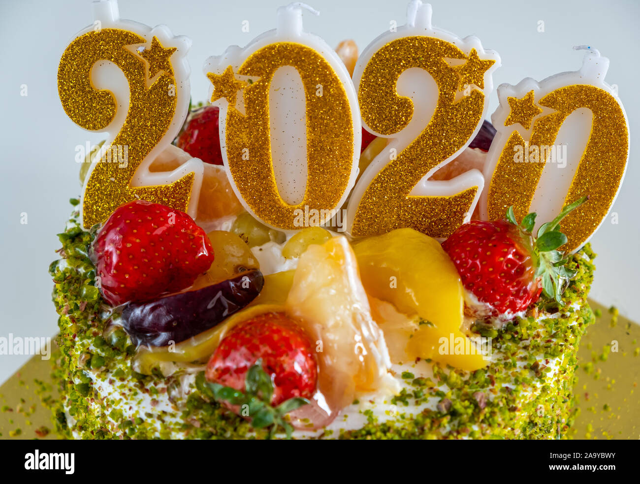 Brilliant Close Up Of Birthday Cake With Candles Shaped Number 2020 Happy Personalised Birthday Cards Paralily Jamesorg