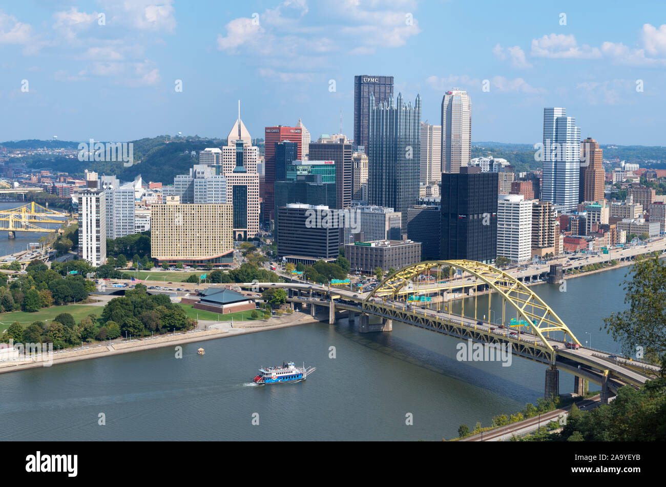 Aerial view of downtown skyline from the top of Duquesne Incline funicular with Fort Duquesne Bridge in foreground, Pittsburgh, Pennsylvania, USA Stock Photo