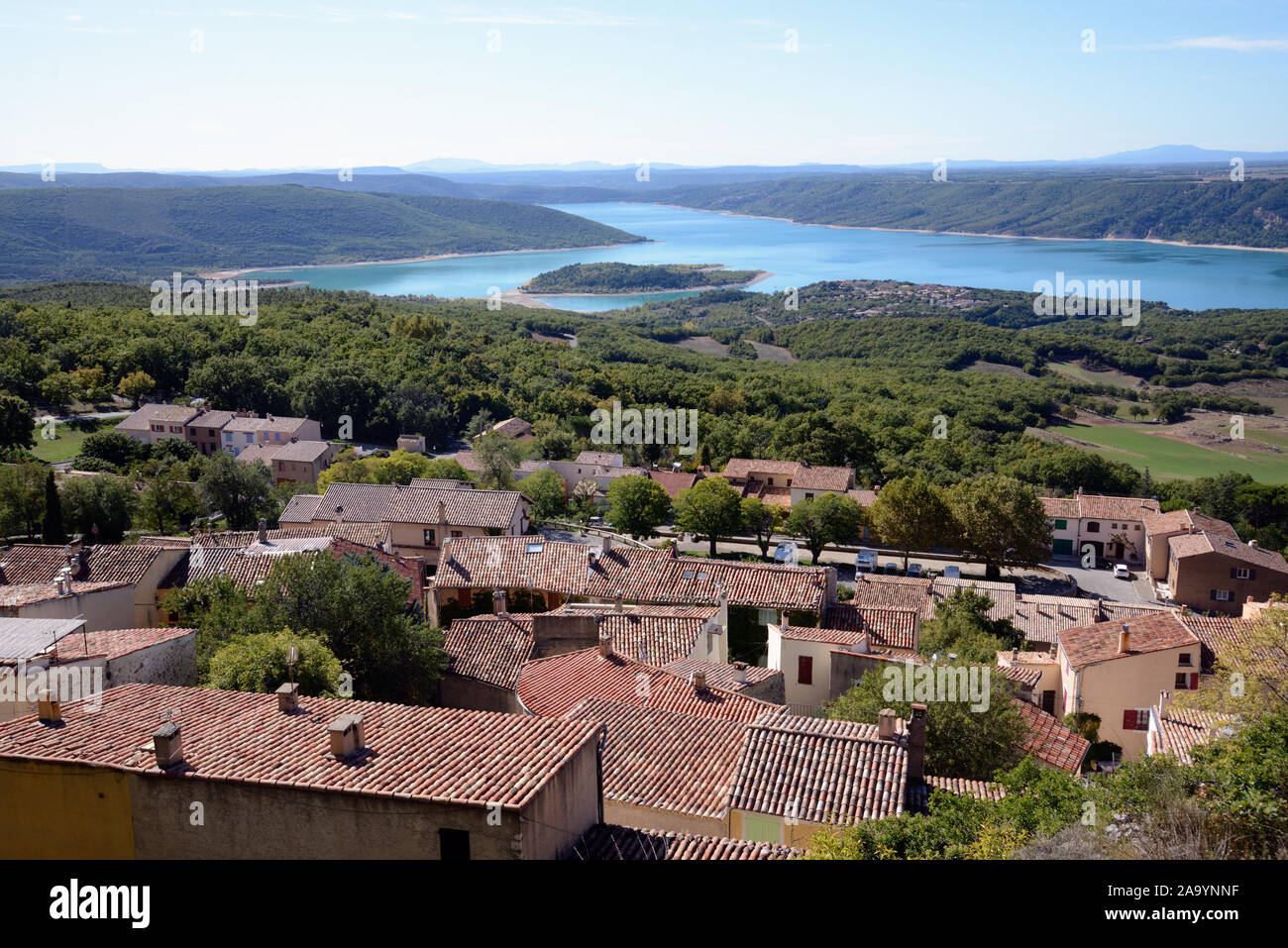 Panoramic View over the Rooftops of the Village of Aiguines & Lac de Sainte-Croix or Lake of Sainte-Croix Var Provence France Stock Photo