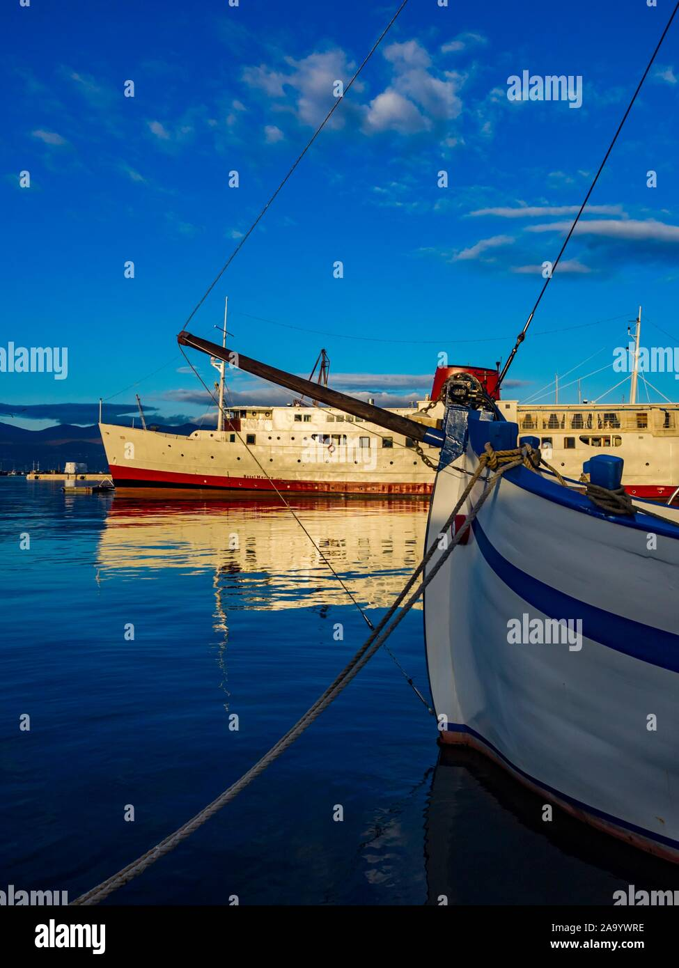Harbor Rijeka in Croatia old vs and new ships vessel Stock Photo