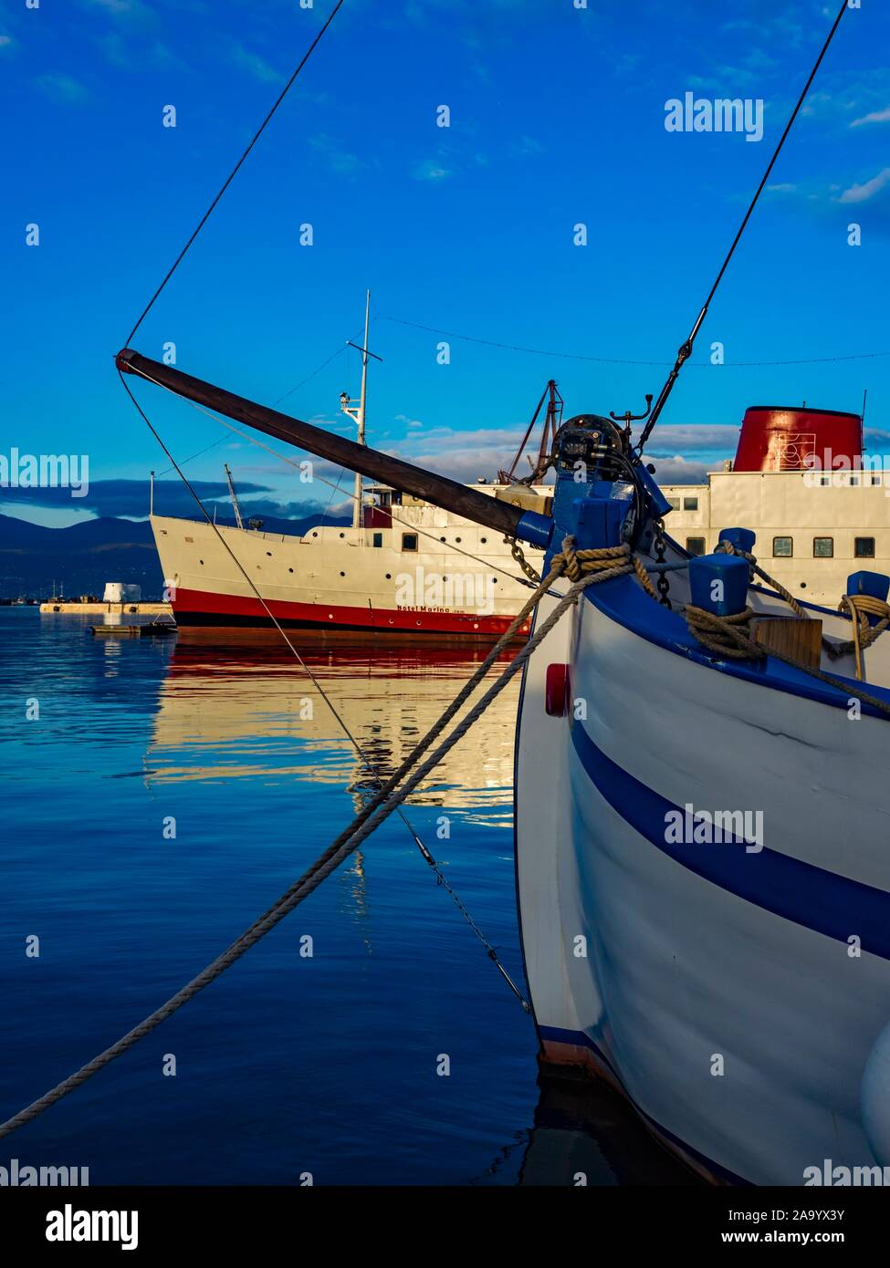 Harbor Rijeka in Croatia old vs and new ships vessel Stock Photo