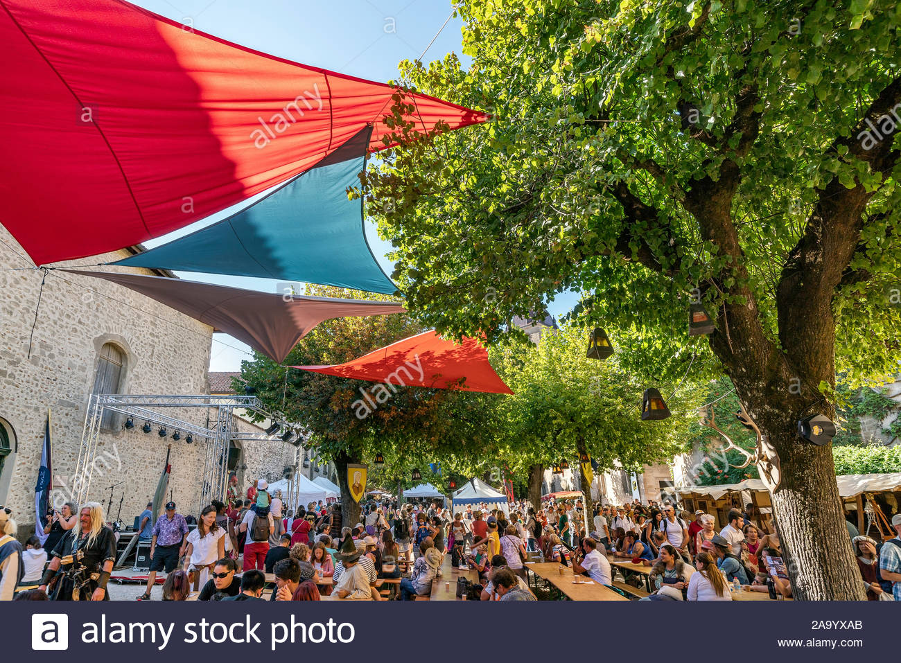Saint-Antoine-l'Abbaye during the medieval festival which is held every year in August Stock Photo