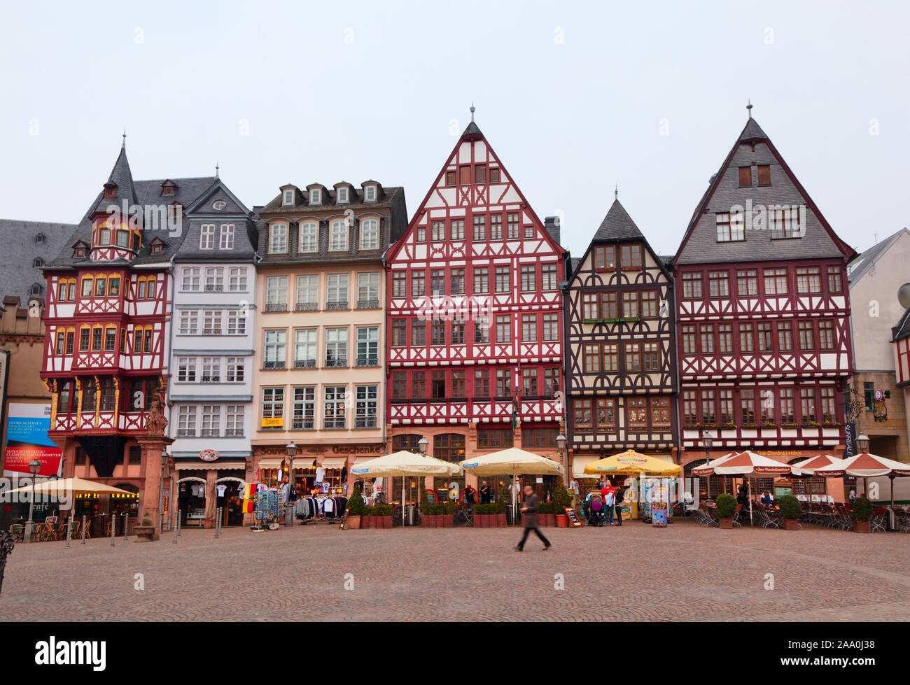 Old restored Romer square in Frankfurt am Main city, Germany Stock Photo