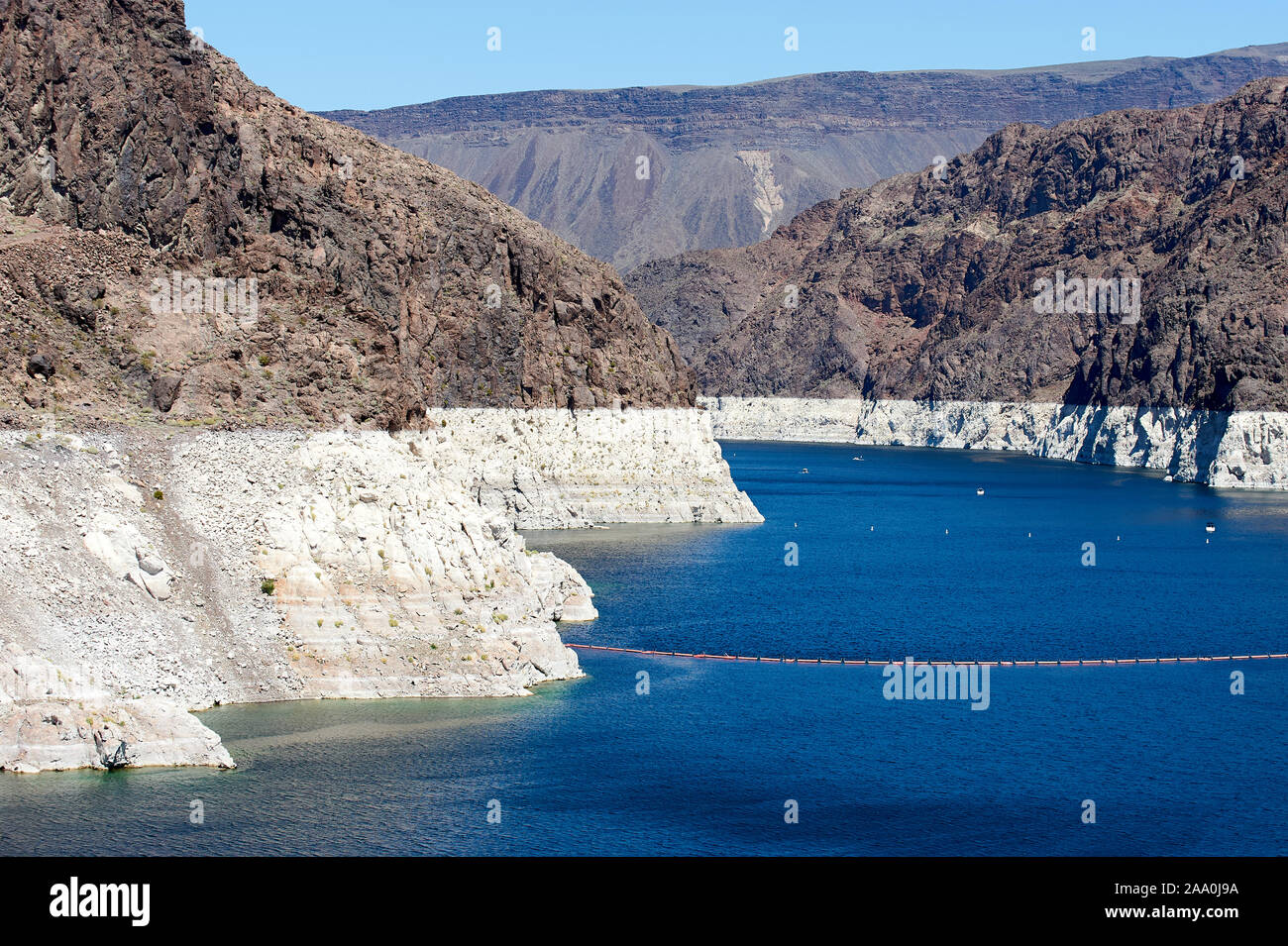 Shot up lake Mead showing the very low water levels and previous level - , Hoover Dam , Nevada, USA Stock Photo