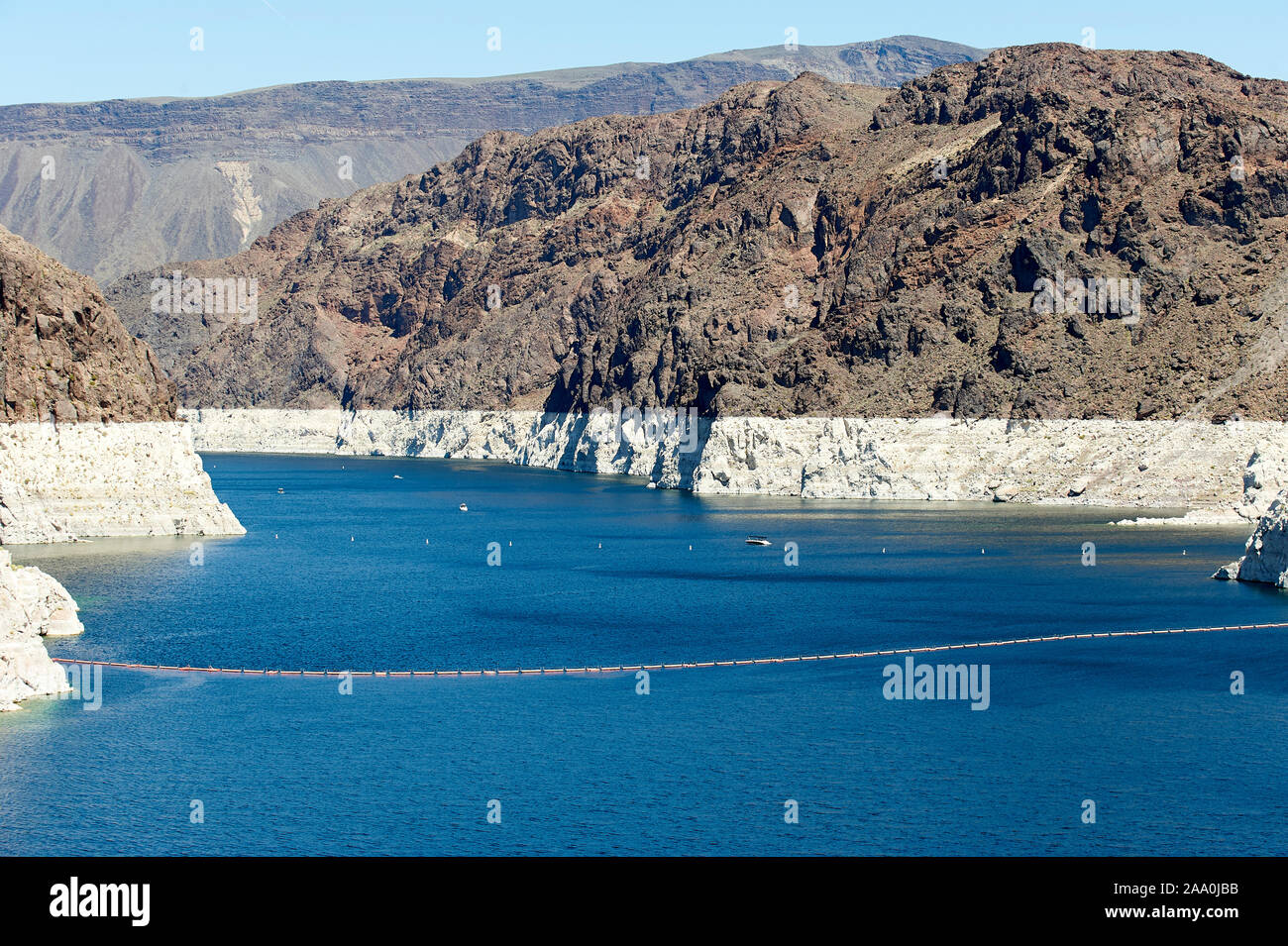 Shot up lake Mead showingthe very low water levels and previous level - , Hoover Dam , Nevada, USA Stock Photo