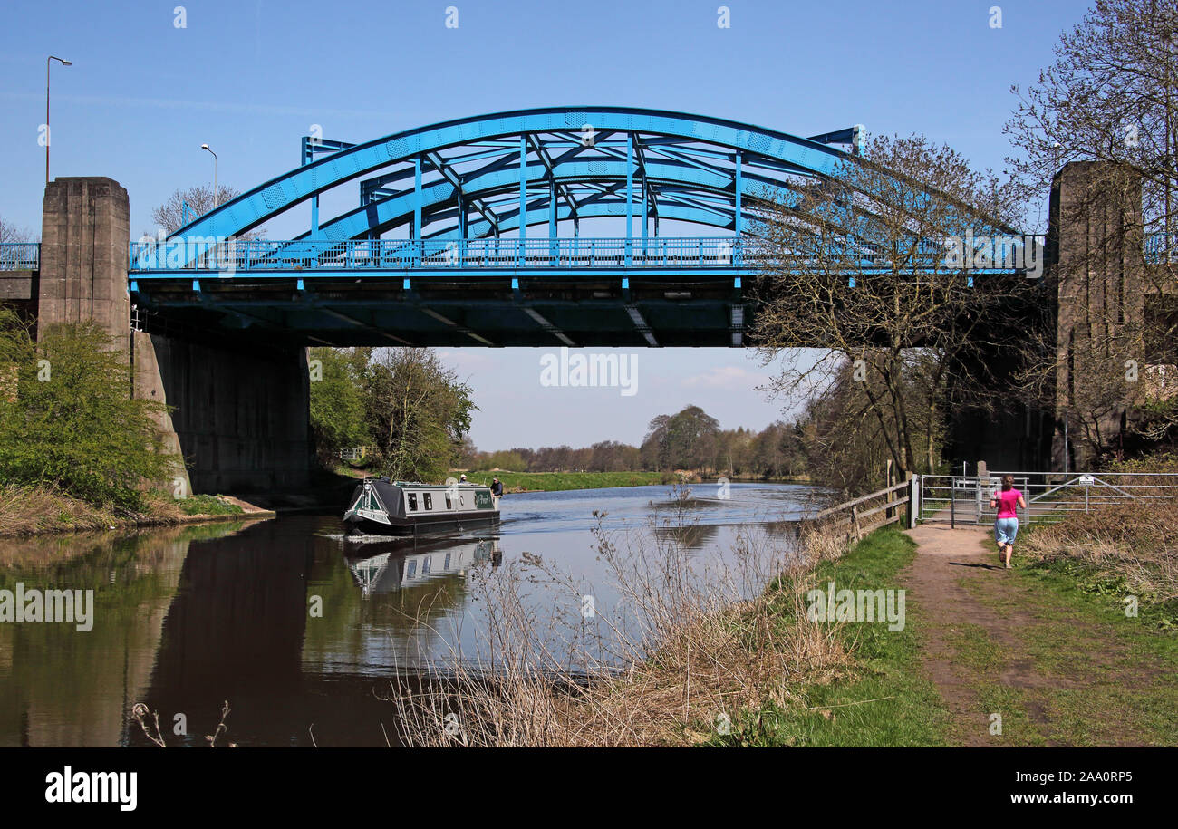 Blue bridge across the river Weaver at Hartford, Northwich,Cheshire Stock Photo