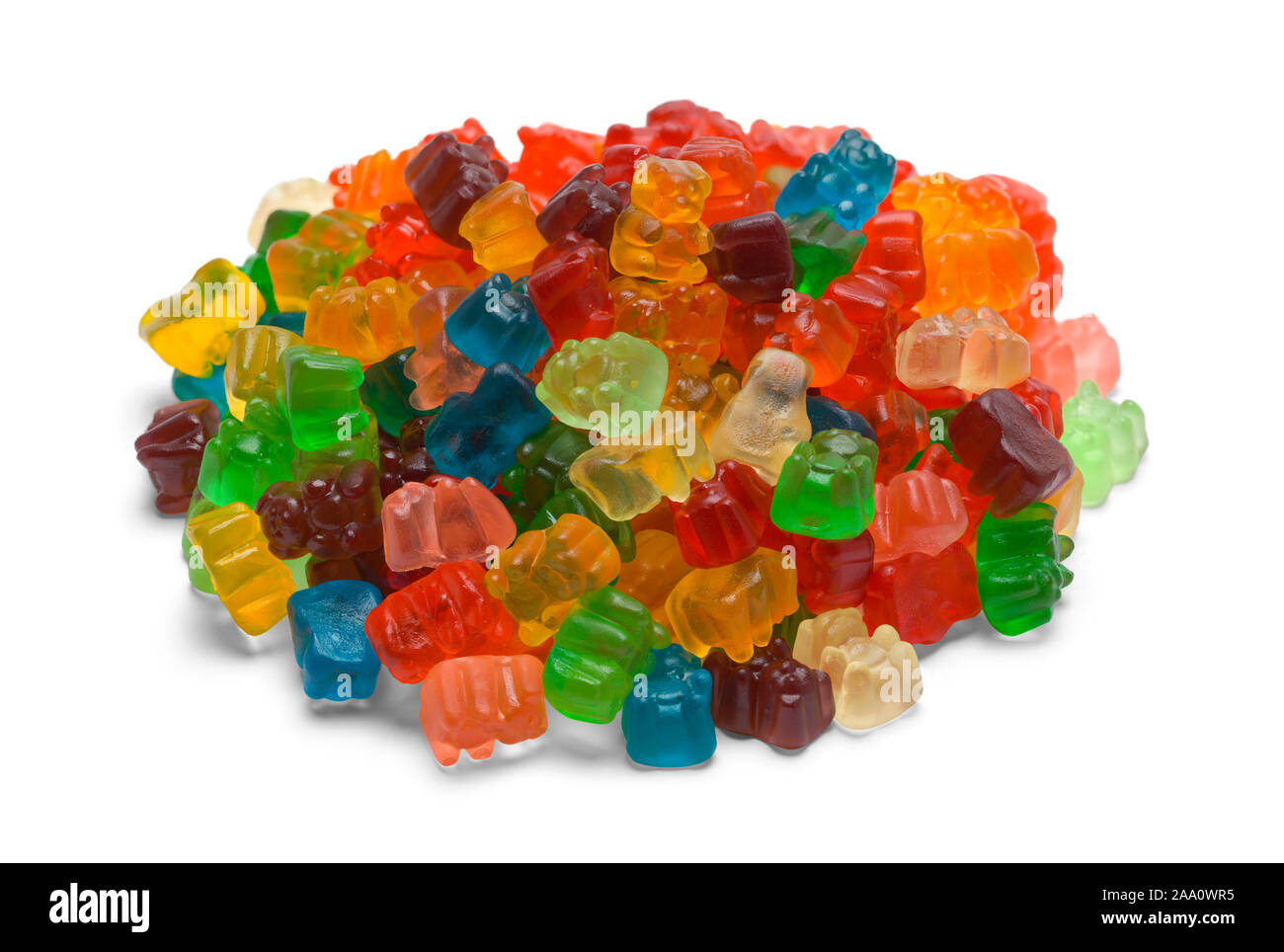 Pile of Colorful Gummy Bears Isolated on White Background. Stock Photo