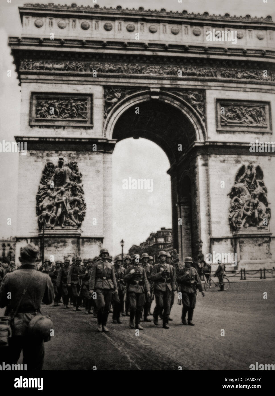 German Troops march past the Etoile in the Champs Elysees in Paris, France in June 1940, during the opening stages of the Second World War. Stock Photo