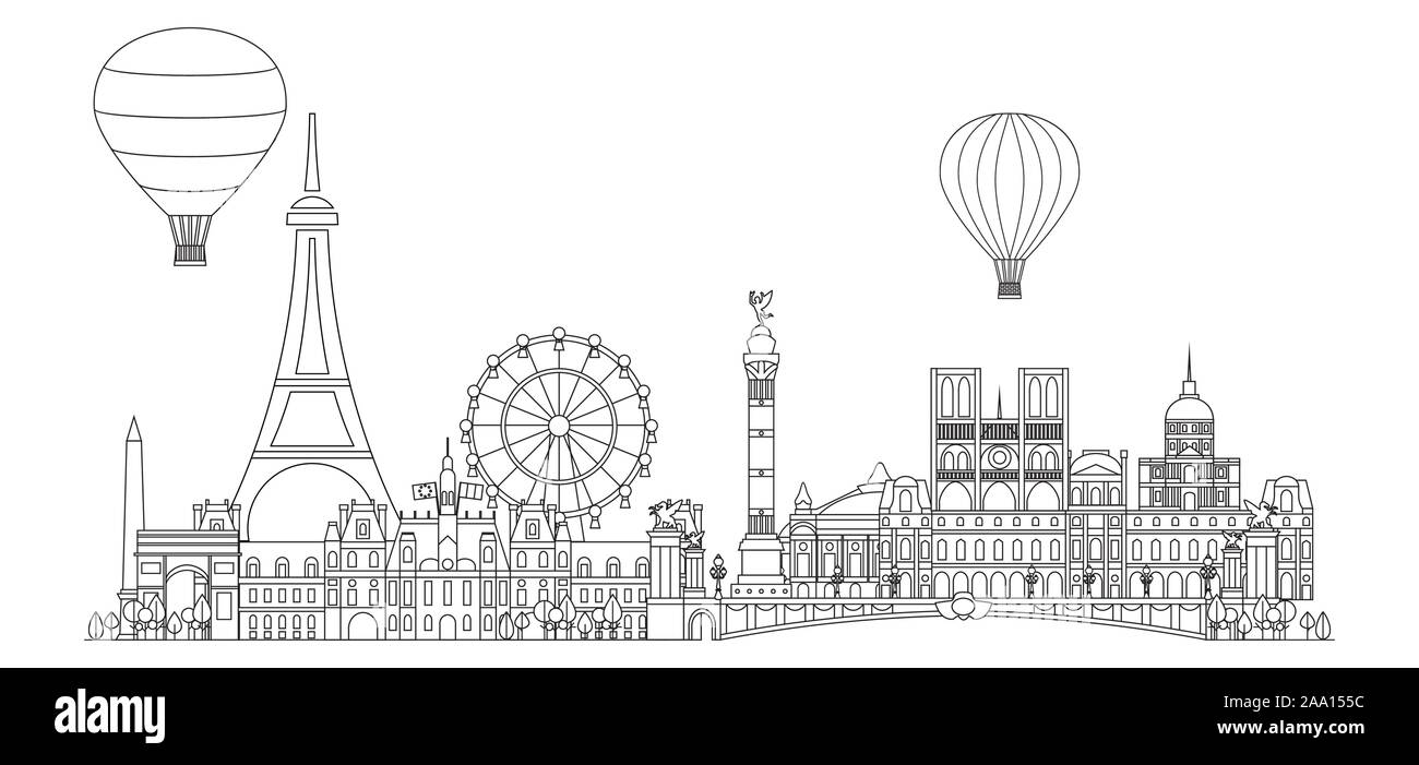 Panoramic Line Art Style Paris City Skyline Vector Illustration In Black Color Isolated On White Background Vector Silhouette Illustration Of Landmar Stock Vector Image Art Alamy