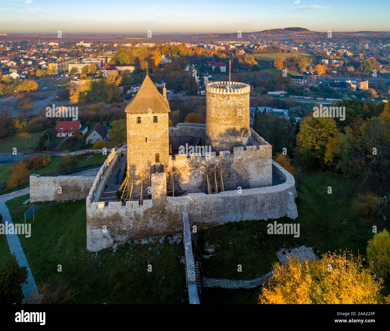 Medieval gothic castle in Bedzin, Upper Silesia, Poland. Aerial view in fall in sunrise light Stock Photo